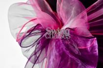 Location ruban en organza fushia et violet sur housse noire