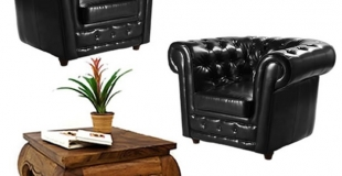 location canape chesterfield en cuir noir