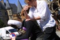 animation massage pendant le tournage d'un film