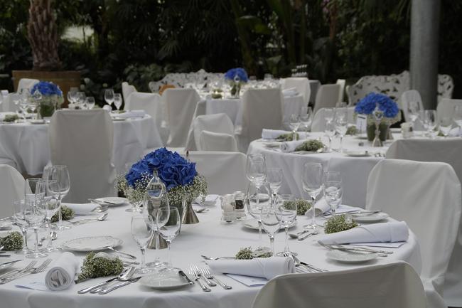 Centres de tables bleus