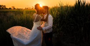 Séance couple au coucher de soleil
