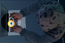 le hacker vu de haut tente de résoudre l'énigme de l'escape game
